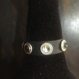 Leather and Multi-stone Bracelet.